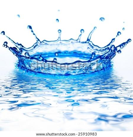 beautiful corona from splash of blue water