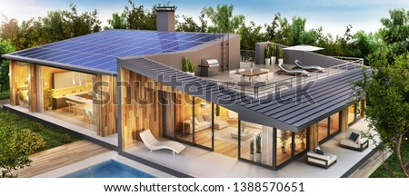Beautiful country house with roof terrace and solar panels. Exterior and interior design of a luxury home with a swimming pool. 3d rendering