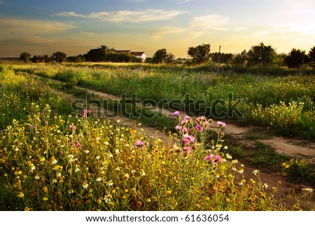 Beautiful countryside landscape with an old house ant sunset