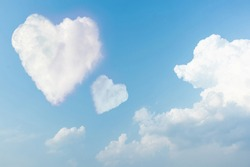 Beautiful couple heart on the sky with cloudy. Blue sky with two hearts shape clouds natural background.