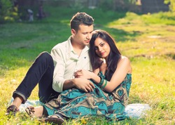beautiful couple in park
