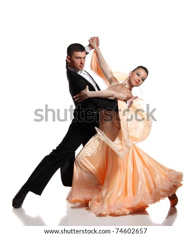 beautiful couple in the active ballroom dance