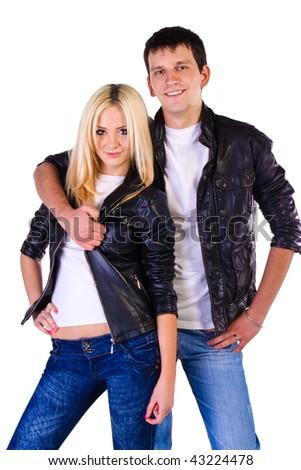 Beautiful couple isolated on a white background - stock photo