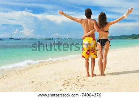 Beautiful couple on a tropical beach