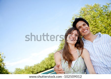 Beautiful couple portrait smiling outdoors