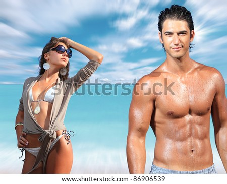 beautiful couple posing at the beach