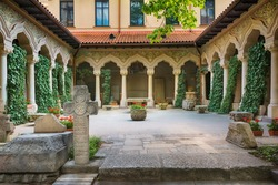 Beautiful courtyard in Stavropoleos Monastery Church in Bucharest, Romania