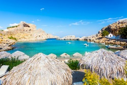 Beautiful cove at St Pauls Bay Lindos Rhodes Greece Europe