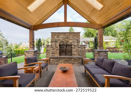 Beautiful Covered Patio Outside New Luxury Home