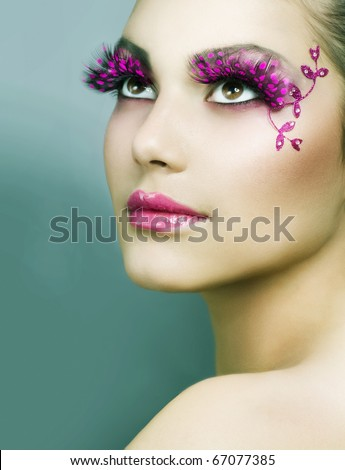 Beautiful Creative Fashion Makeup.Holiday Make-up