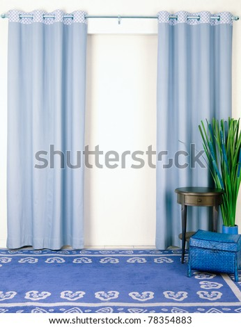 Beautiful curtain with empty space in living room