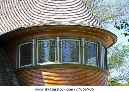 Beautiful curved windows on this Frank Lloyd Wright designed house in Oak Park, Illinois
