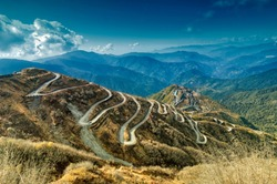 Beautiful Curvy roads on Old Silk Route, past Silk trading route between China and India, Sikkim. This is now part of One belt one road project (OBOR) connecting China with Asia and Europe.