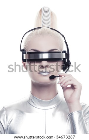 Stock Photo Beautiful cyber operator
