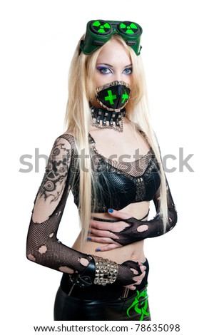 Beautiful cybergoth blonde girl isolated on white background