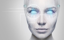 Beautiful cyborg female face with blue eyes. Over gray background.
