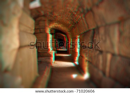 Beautiful 3D anaglyph stereo image of a empty tunnel. Great religion, travel, ecologycal concept for diverse advertising materials. To view this image you need stereo glasses.