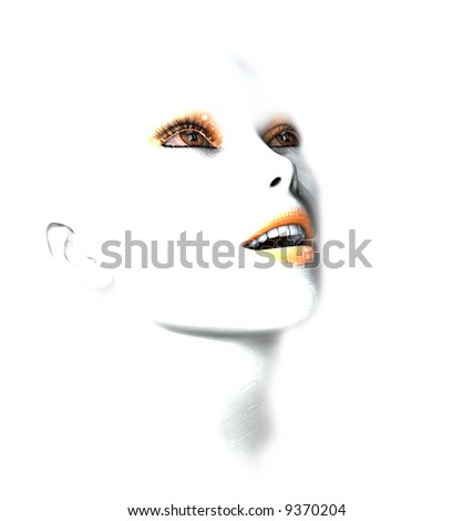 Beautiful 3D female robot face with circuit board skin - stock photo