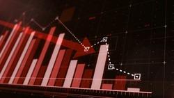 Beautiful 3D red bar graph fall down following the arrow.