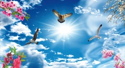 Beautiful 3d sky with birds and flowers
