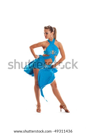 beautiful dancer woman on a white isolated background