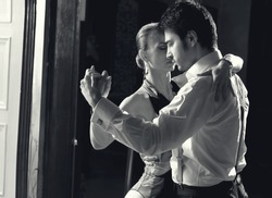 Beautiful dancers performing an Argentinian tango