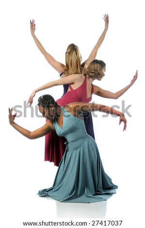 Beautiful dancers performing together over a white background
