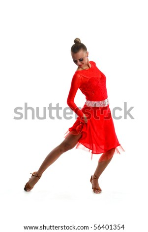 beautiful dancing woman with a red dress