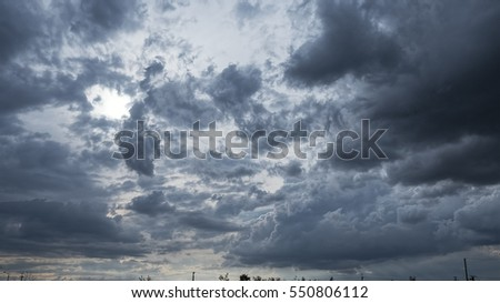 Beautiful dark clouds slowly flying in the sky
