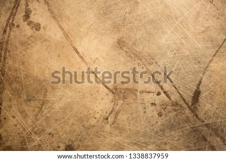 Beautiful dark texture of antique papyrus paper, abstract background of wall surface, vintage surface texture with copy space, unusual spotted surface background. #1338837959