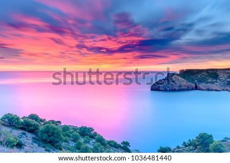 Beautiful Dawn at the Mediterranean Sea (Punta Montgo, Escala, Catalonia, Spain)