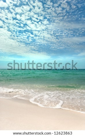 Beautiful day on a pristine beach on the Emerald Coast of Florida