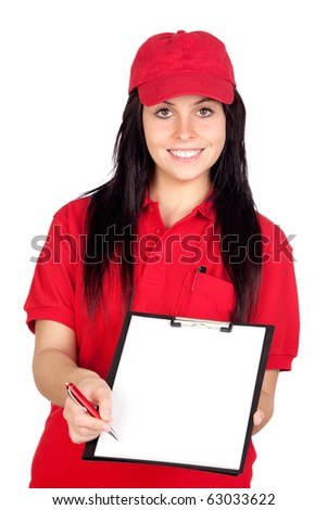Beautiful dealer getting the signature isolated over white background