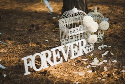 Beautiful decor for wedding ceremony or photobooth arranged outside in old wood. White bird cages, flowers, petals and word Forever standing on ground. Horizontal color photography.