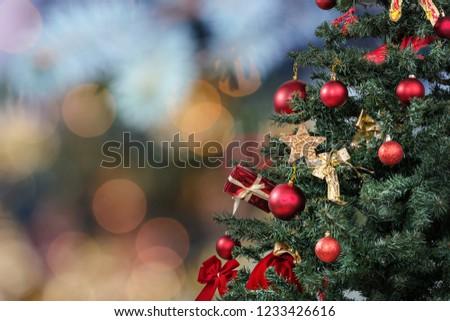 Beautiful decorated christmas tree. Holiday background #1233426616
