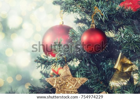 Beautiful decorated christmas tree. Holiday background #754974229