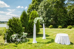 Beautiful Decorated Romantic place during outdoor wedding ceremony