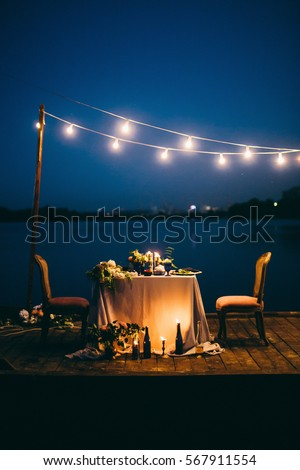 Beautiful decoration for wedding dinner at night