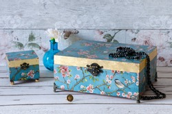 Beautiful decoupaged and gilded jewellwry boxes