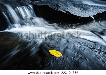 Beautiful deep rock and waterfall nature wallpaper