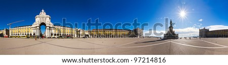 Beautiful 360 degree panorama of the Commerce Square in Lisbon - stock photo