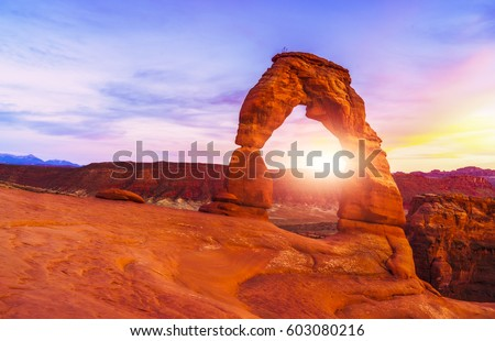 beautiful Delicate arch at sunset in summer season, Arches National park,Moab,Utah,usa.