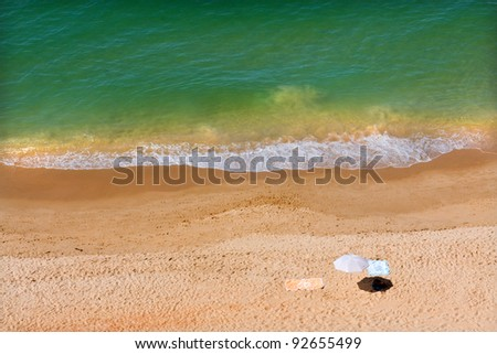 Beautiful deserted beach at Algarve, south of Portugal