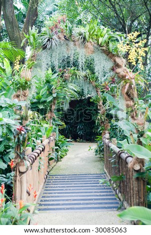 beautiful design of natural garden entrance path
