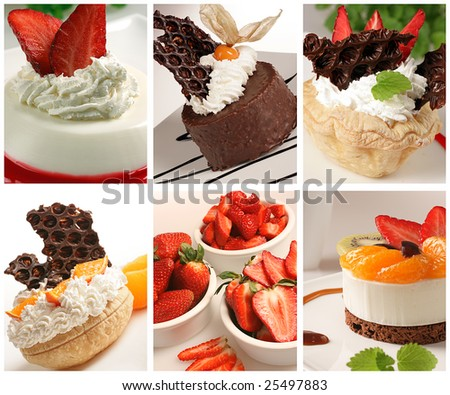 beautiful dessert collage made from six images
