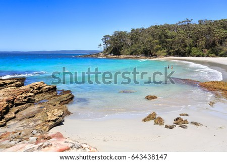 Beautiful destinations of Australia, Blenheim Beach Jervis Bay, Australia, pristine waters under perfect blue skies,  #643438147