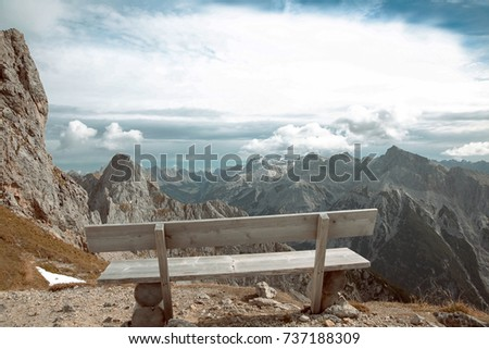 Beautiful destinations. Single bench over Ridge Mountain National Park, vacation destination Landscape background. #737188309
