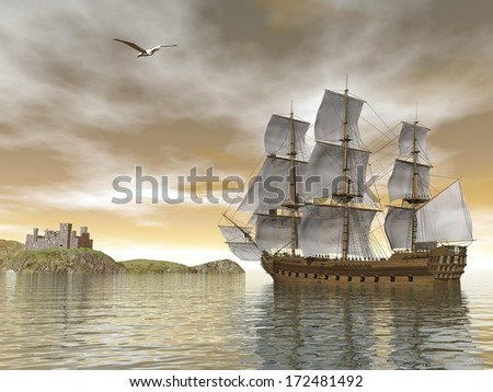 Beautiful detailed old merchant ship going back to castle and seagull flying around by cloudy sunset #172481492