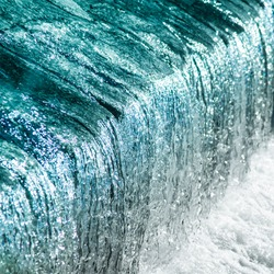 Beautiful detailed texture of flowing water in gorgeous aqua shades: From glossy watercolor baby blue, pale turquoise and sky teals to bright shallow sea and silver white colors of waterfall cascade