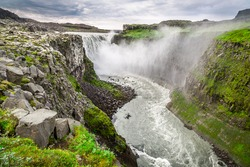 Beautiful Dettifoss waterfall in Iceland in summer